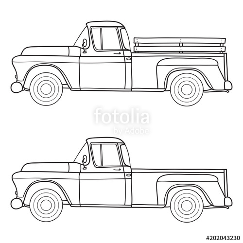 500x500 Old Truck. Vector Doodle Illustration Stock Image And Royalty