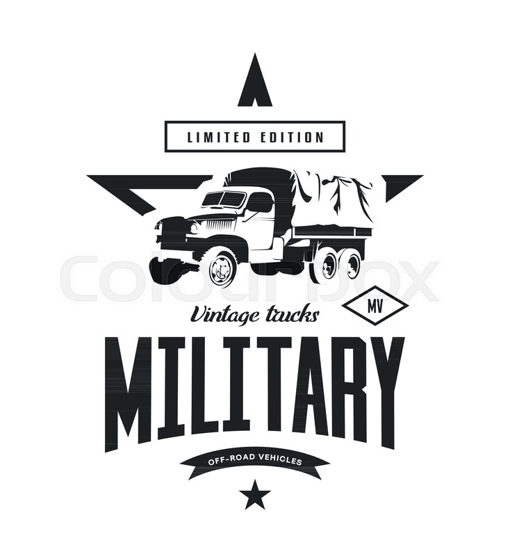 734x800 Vintage Military Truck Vector Logo Isolated On White Background