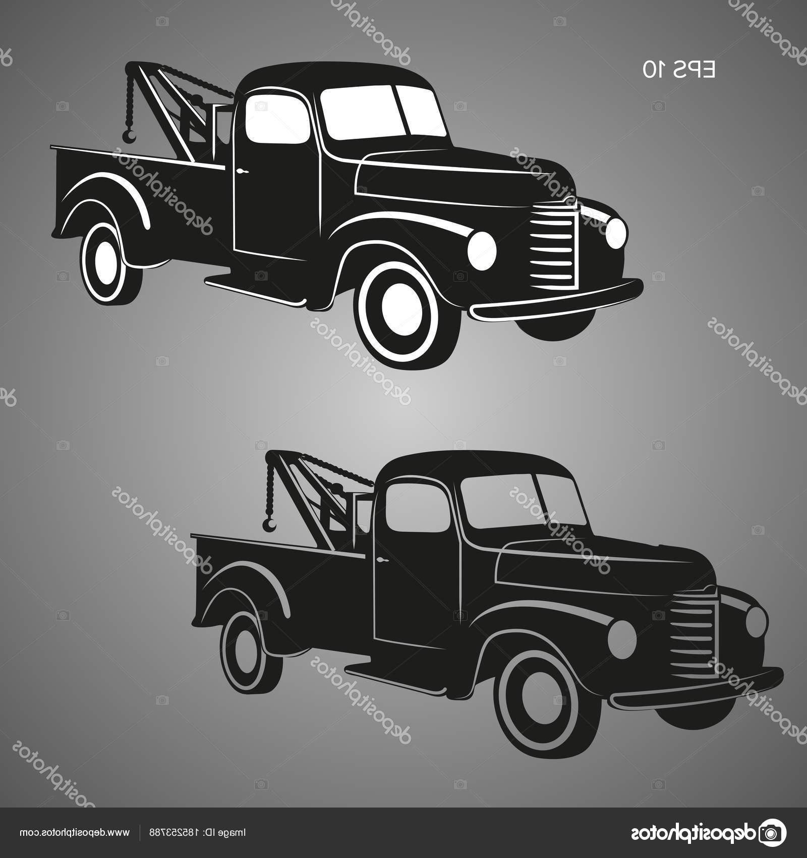 1600x1700 Best Free Stock Illustration Old Vintage Tow Truck Vector Image