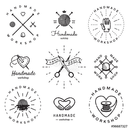500x500 Handmade Workshop Logo Vintage Vector Set. Hipster And Retro Style