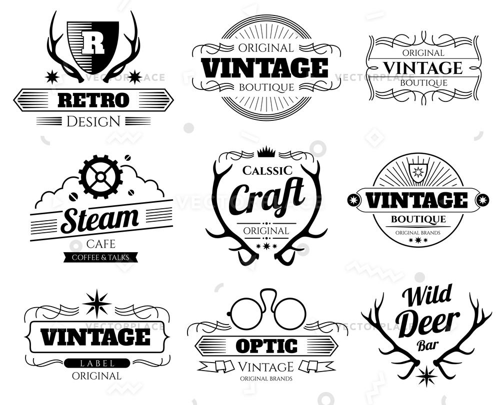 1000x811 Vintage Hipster Logos Labels Set Deer Vector Illustration 9638