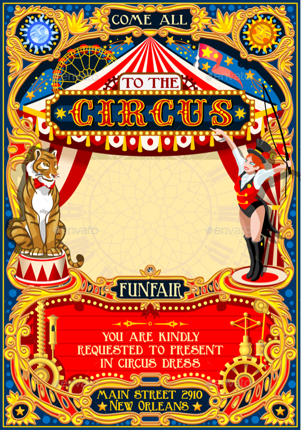 590x841 Circus Carnival Animal Trainer Invite Vintage Vector By Aurielaki