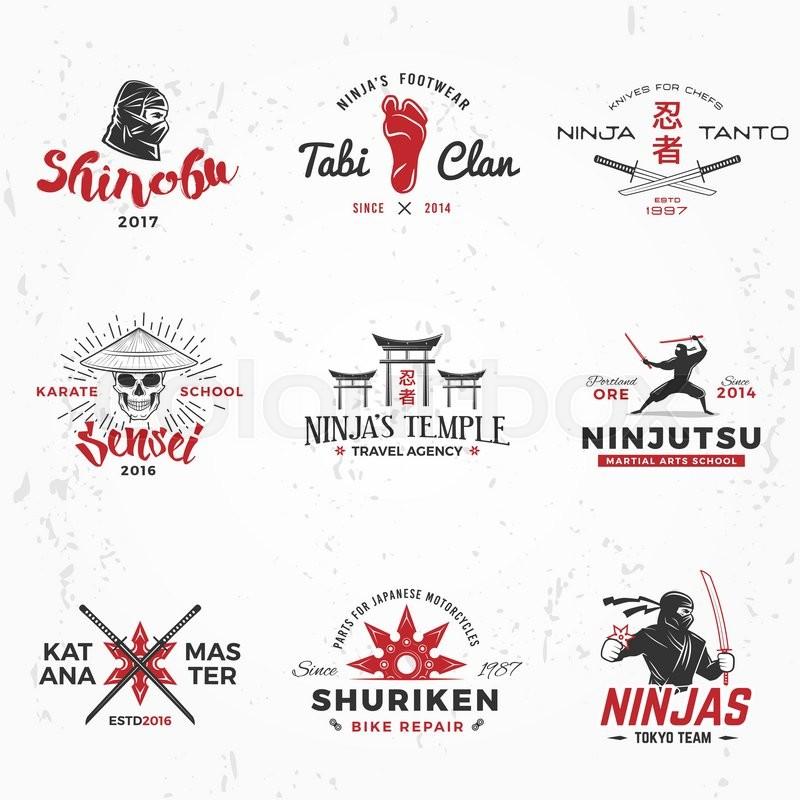 800x800 Set Of Japanese Ninjas Logo. Katana Master Insignia Design