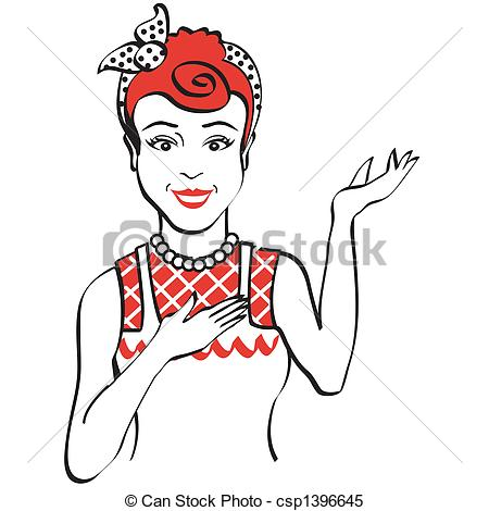 450x470 Vintage Retro 1950s Woman. Vintage Or Retro 1950s Woman Clip Art.