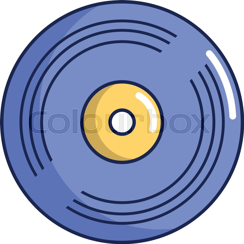 800x800 Vinyl Record Icon. Cartoon Illustration Of Vinyl Record Vector