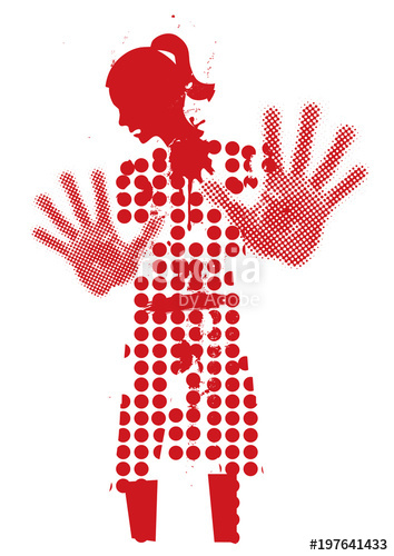 354x500 Young Woman Silhouette Victim Of Violence. Grunge Stylized Woman