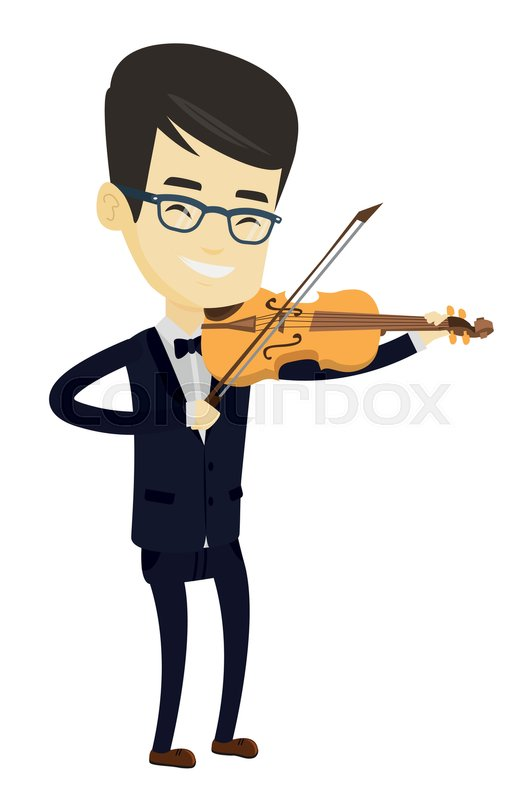 523x800 Asian Musician Standing With Violin. Young Smiling Musician