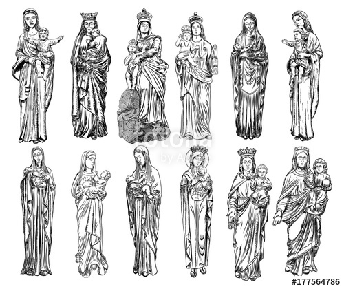 500x420 Set Of Virgin Mary Or Saint Mary Or Mother Of God With Baby Jesus