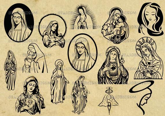 570x403 Digital Svg Png Jpg Virgin Mary Mary Mother Of Jesus Vector Etsy
