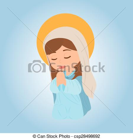 450x470 Virgin Mary. Abstract Cute Virgin Mary On A Special Blue Background.