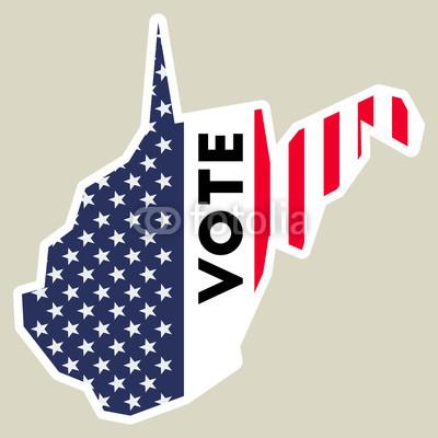 400x400 Usa Presidential Election 2016 Vote Sticker. West Virginia State