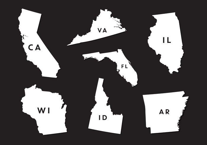 700x490 Vector Set Of State Map Silhouettes