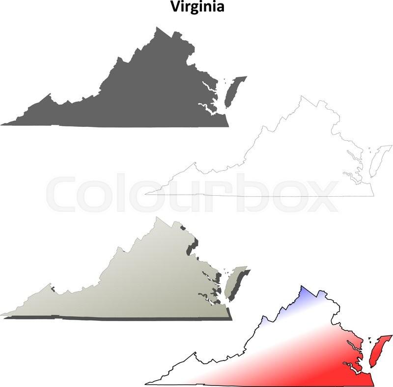 800x787 Virginia State Blank Vector Outline Map Set Stock Vector Colourbox