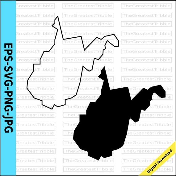 570x570 West Virginia State Map Eps Svg Png Jpg Vector Graphic Clip Etsy