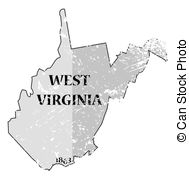 189x179 Map Of West Virginia State On A White Background, Vector Illustration.