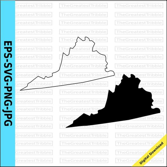 570x570 Virginia State Map Eps Svg Png Jpg Vector Graphic Clip Art Etsy