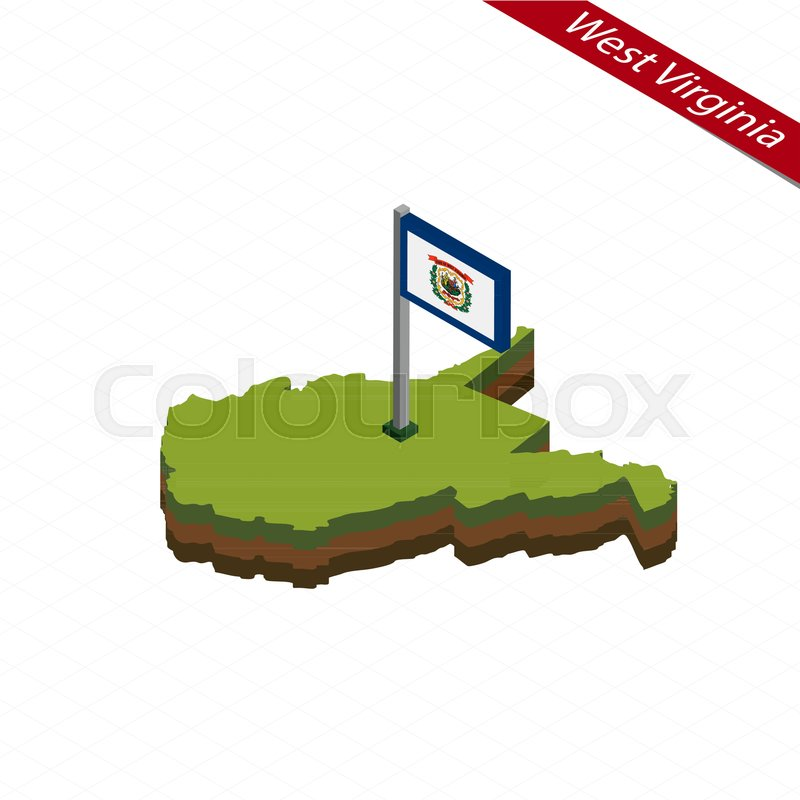 800x800 Isometric Map And Flag Of West Virginia. 3d Isometric Shape Of