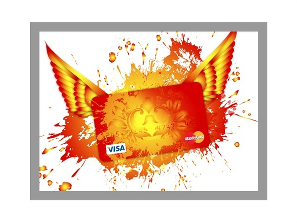 600x450 Visa Card Design With Wings And Color Splash Free Vector In Adobe