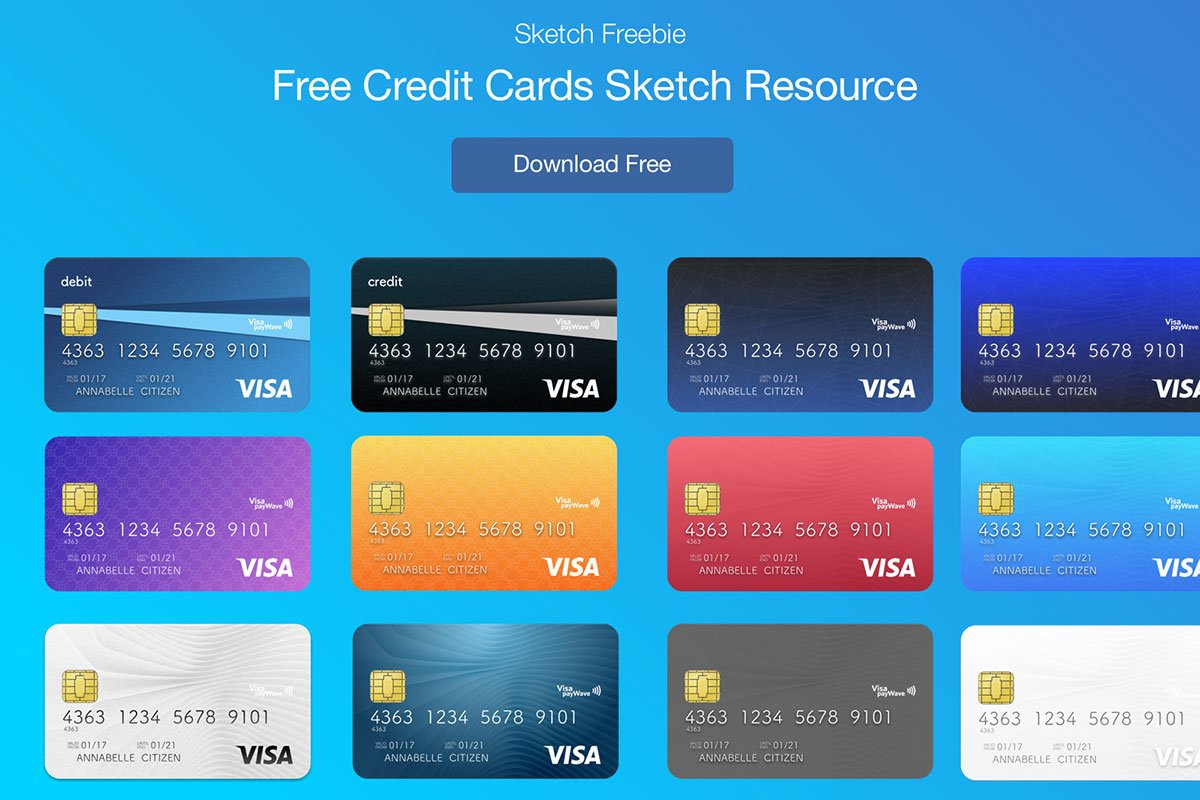 1200x800 Free Credit Cards Vector Ui Sketch Template
