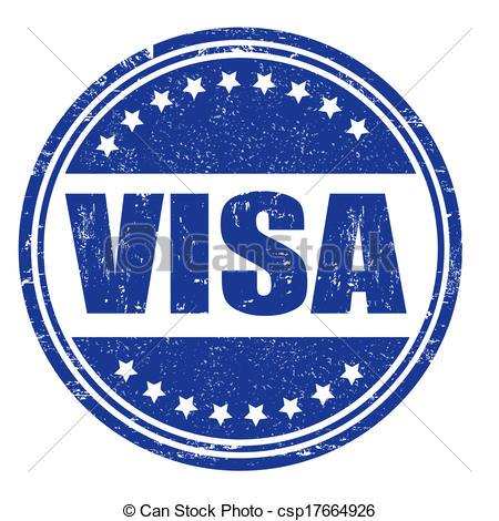 450x470 Visa Stamp. Visa Grunge Rubber Stamp On White, Vector Illustration.