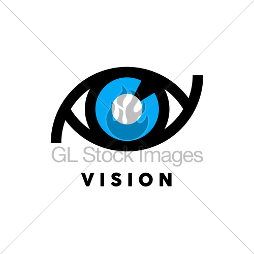 500x500 Abstract Vision Logo With Eye Icon Concept. Vector Illust... Gl