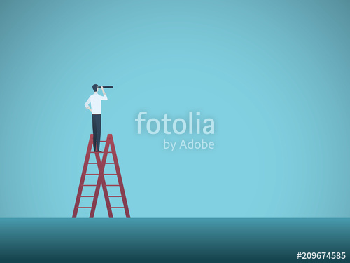 500x375 Business Vision Vector Concept With Business Man Standing On Top