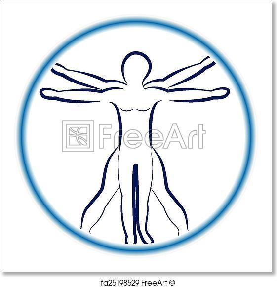 561x581 Free Art Print Of Da Vinci Man Vector Logo. Da Vinci Man Vector