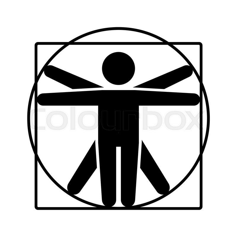 800x800 Leonardo Da Vinci Vitruvian Man Sign Logo Stick Style Icon Vector