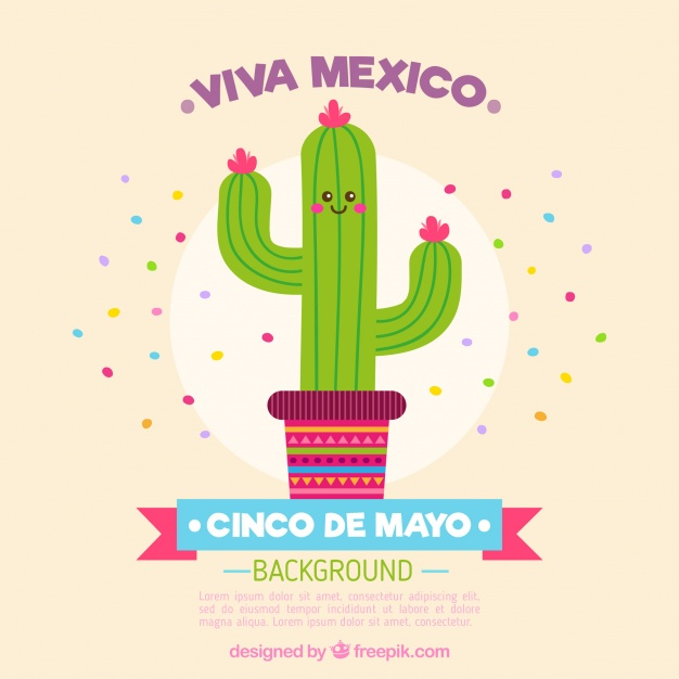 626x626 Nice Cactus Background With Text Viva Mexico Vector Free Download