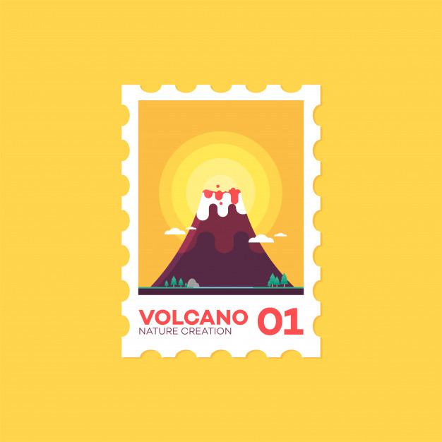 626x626 Postage Stamp Volcano Flat Cute Style Icon Vector Illustration