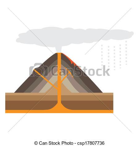 450x470 Volcan, Fond Blanc, (Vector) Illustration), (Vector,