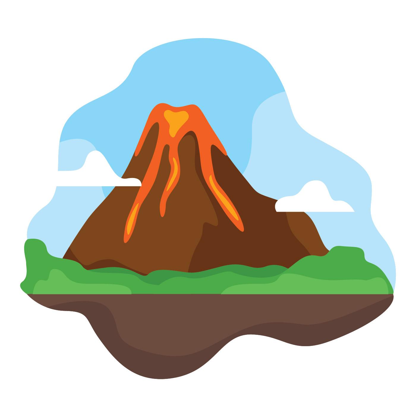 1400x1401 Volcano Free Vector Art