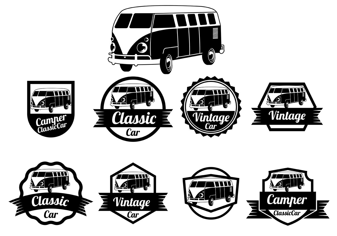 1400x980 Vw Camper Vector Badges