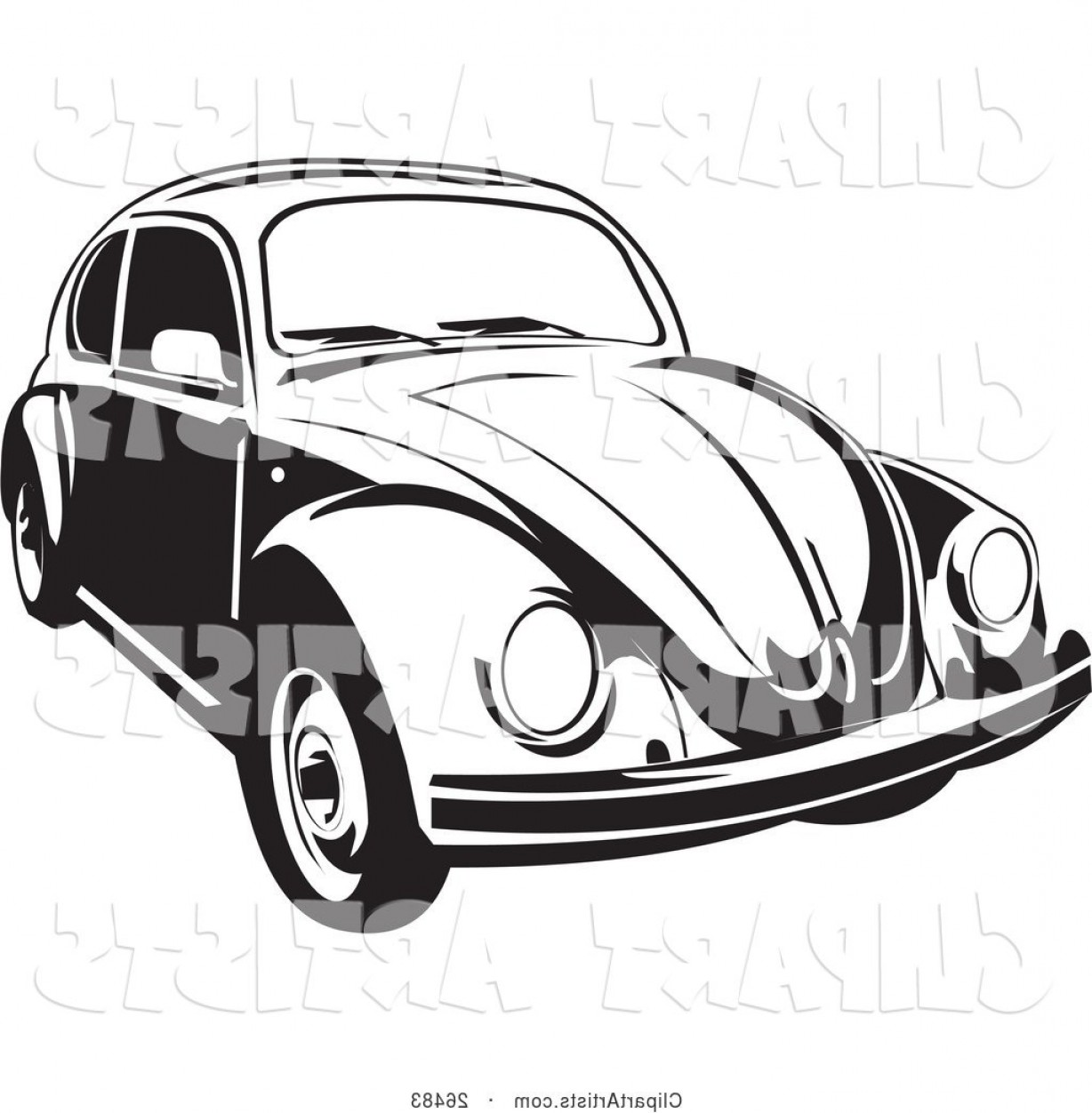 1228x1252 Vector Clipart Volkswagen Beetle Car In Black And White By David