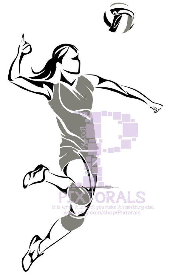 570x922 Volleyball Player Vector Volleyball Player As Png Jpg High Etsy