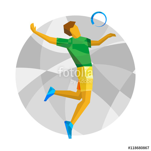 500x500 Volleyball Player With Abstract Patterns. Flat Athlete Icon. Sport