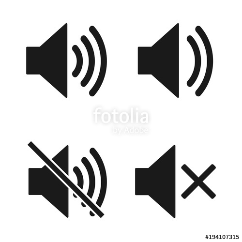 500x500 Sound Icon. Set Speaker Icon. Sound Vector Icon, Music Volume