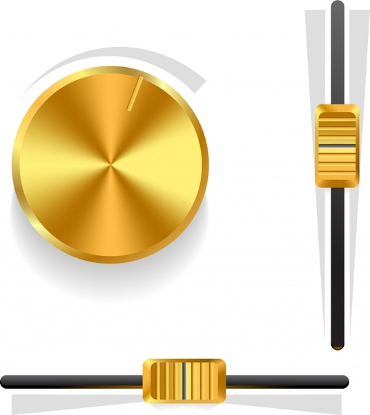 536x600 Gold Volume Knob Vector Free Vector In Encapsulated Postscript Eps