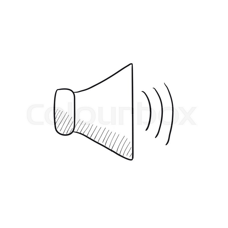 800x800 Speaker Volume Vector Sketch Icon Isolated On Background. Hand