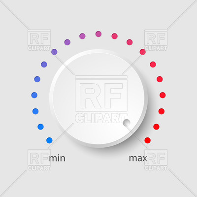 400x400 White Plastic Volume Control With Colorful Dotted Dial Vector