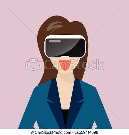 450x470 Woman Wearing Virtual Reality Headset. Vector Illustration.