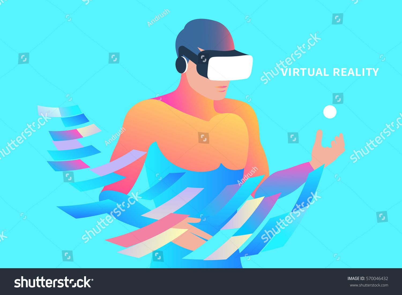 1500x1101 Enthusiastic Man Wearing Virtual Reality Headset. Vector