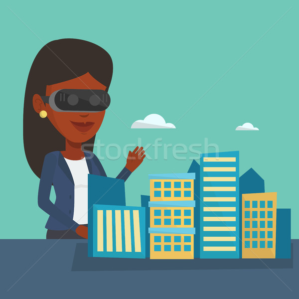 600x600 Happy Young Woman Wearing Virtual Reality Headset. Vector