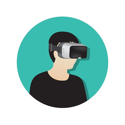 416x416 Man Wearing Virtual Reality (Or Vr) Glasses Vector Icon Premium