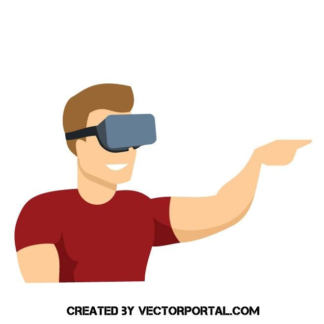 660x660 Man Wearing Vr Device Vector Image Technology Vector
