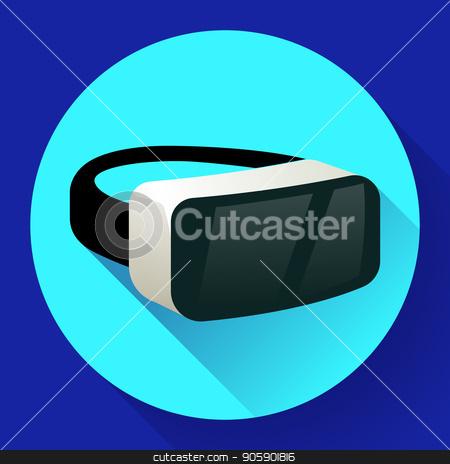 450x464 Vr Glasses Icon Or Virtual Reality Helmet Icon Vector. Flat