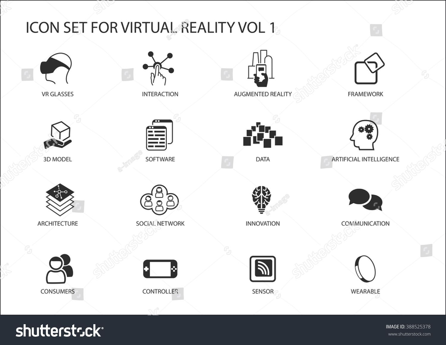 1500x1161 Virtual Reality (Vr) Vector Icon Set. Multiple Symbols In Flat
