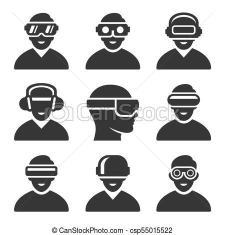 450x470 Virtual Reality Vr Headset Icons Set. Vector Illustration.
