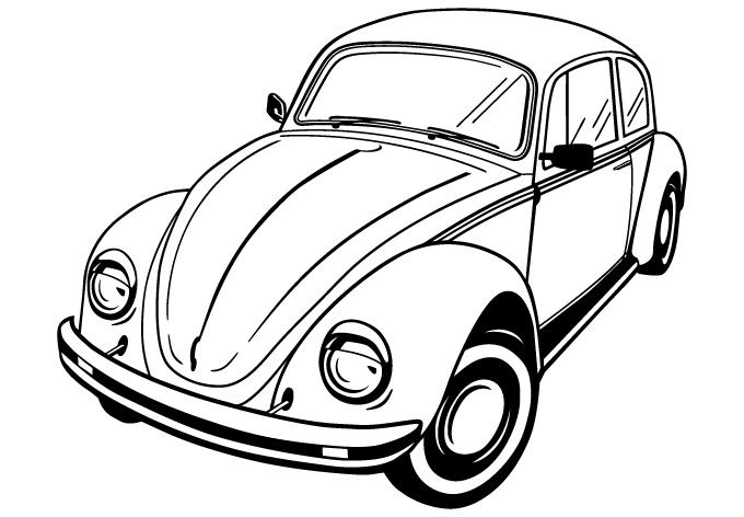 680x472 Volkswagen Beetle Vector By Wall Decal Shop