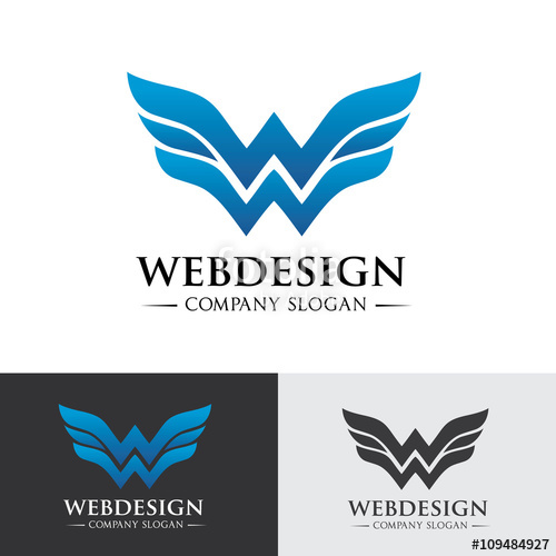 500x500 W Letter Logo. Wing Logo. Web Design Logo Template. Media Logo